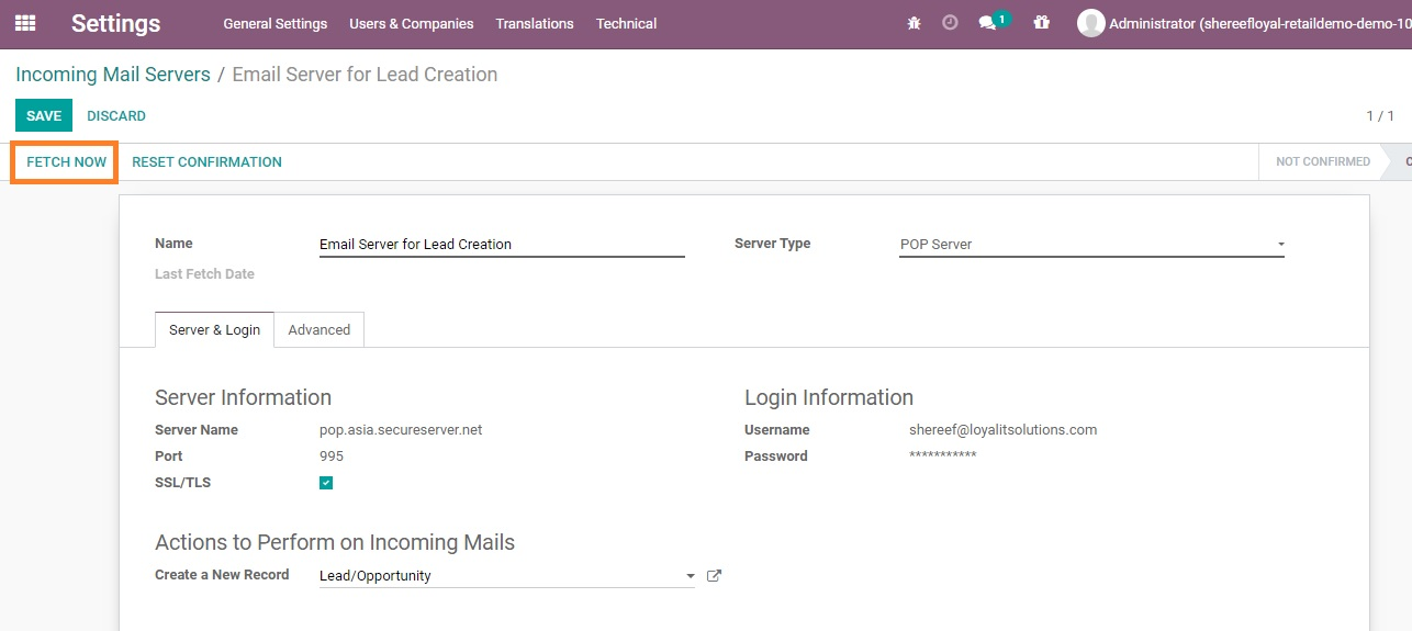 Odoo CRM Email to Lead P 6