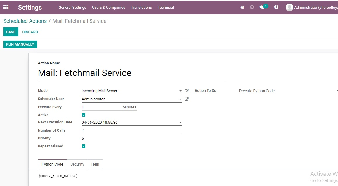 Odoo CRM Email to Lead P 9