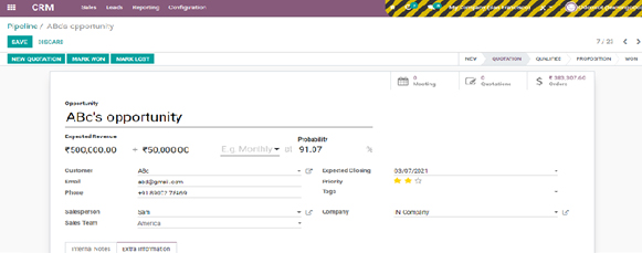 Odoo CRM Opportunity